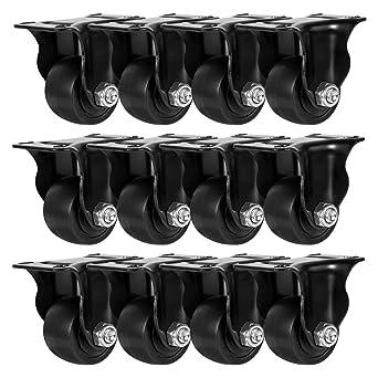 "8 Pack 2/"" Inch Low Profile Black Rigid Heavy Duty Polyurethane Casters Wheels"