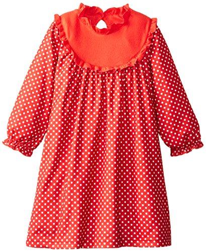 Sara's Prints Little Girls'  Yoke Gown, Red/White Polka Dots, 2