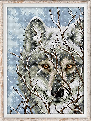 Cross Stitch Kits, Wolf Animals Awesocrafts Easy Patterns Cross Stitching Embroidery Kit Supplies Christmas Gifts, Stamped or Counted (Wolf, Stamped)