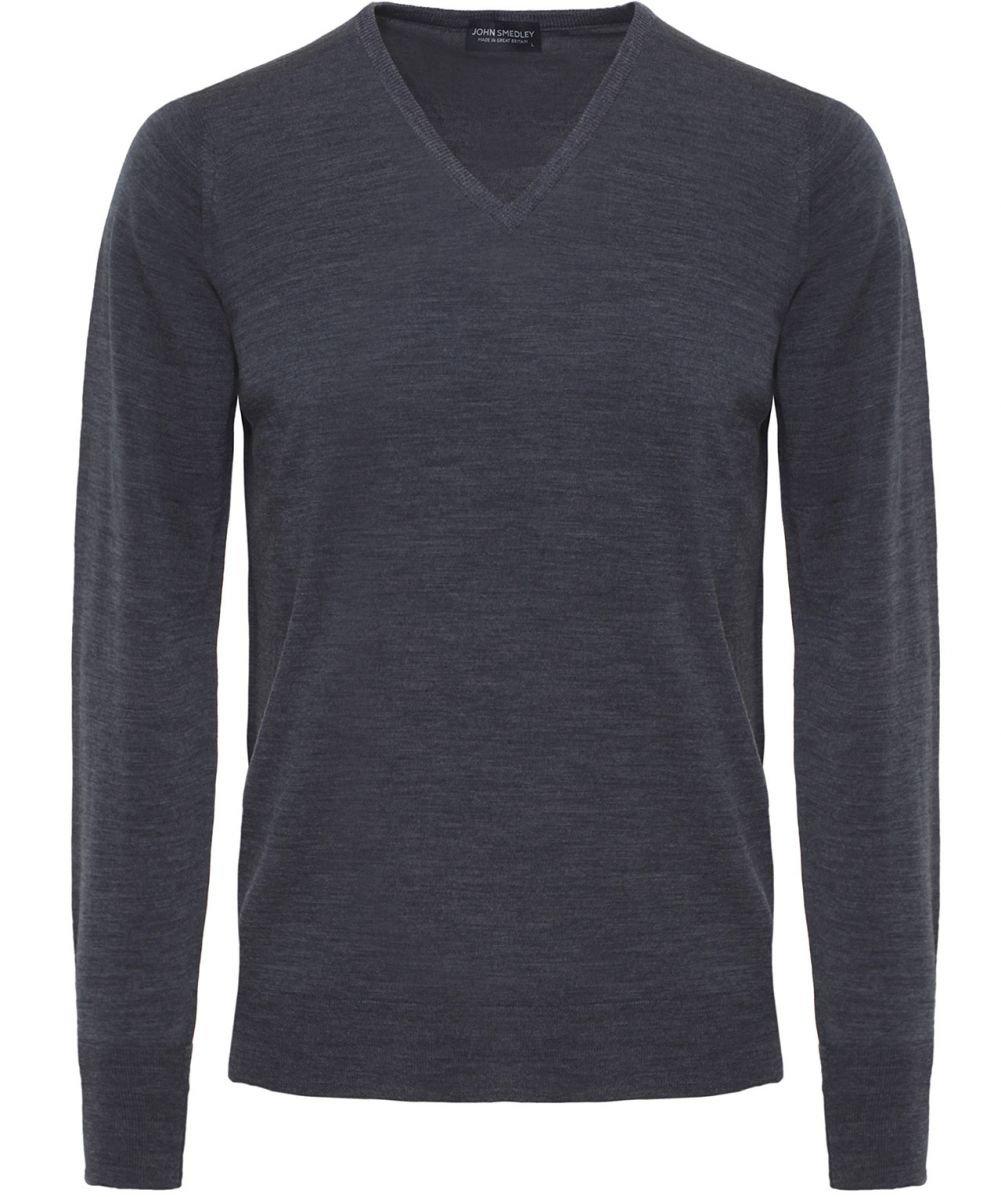 John Smedley Men's Bobby V Neck Merino Sweater, Charcoal, Small