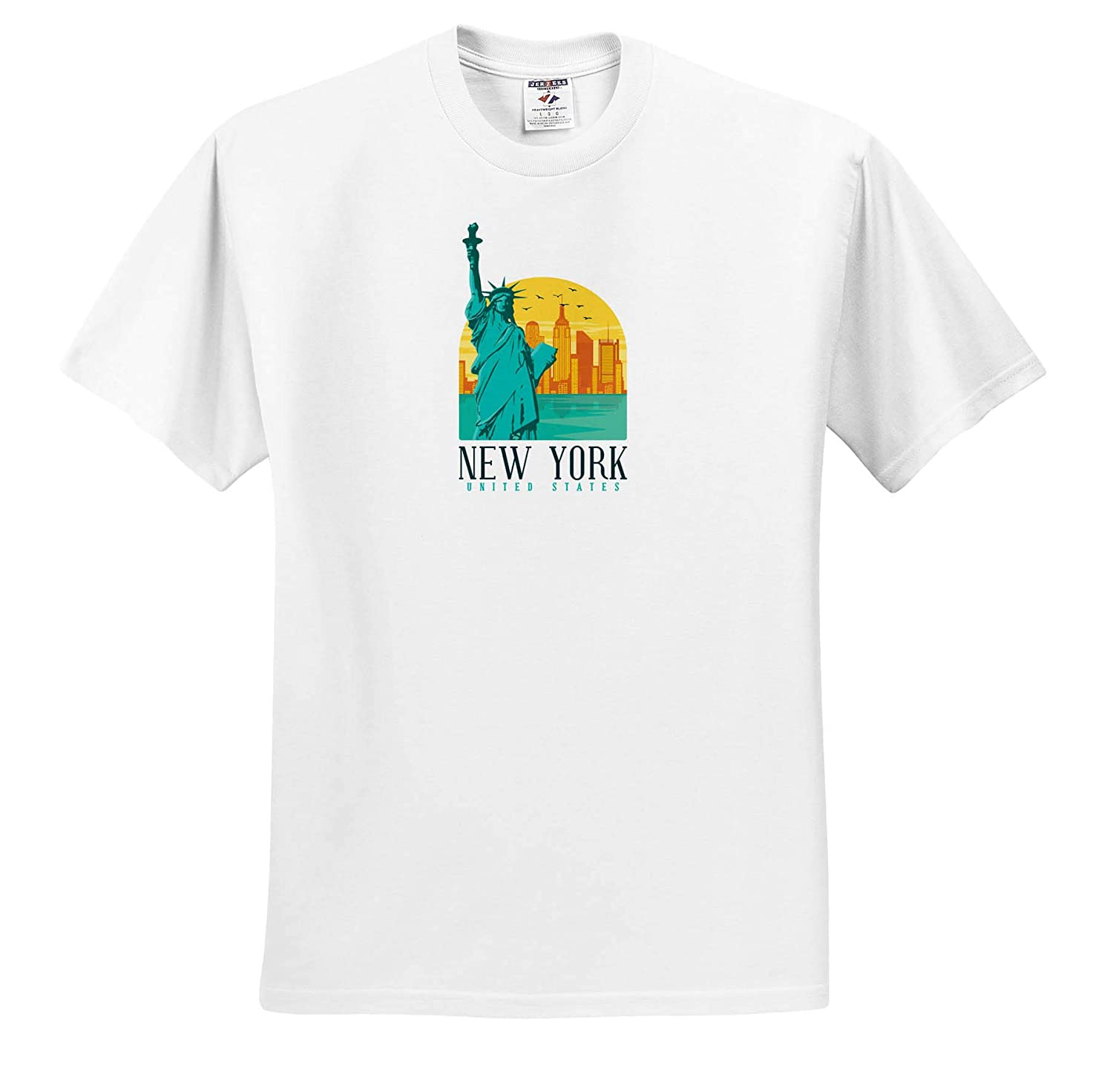 Retro and Vintage of New York with Statue of Liberty 3dRose Sven Herkenrath City Adult T-Shirt XL ts/_310988