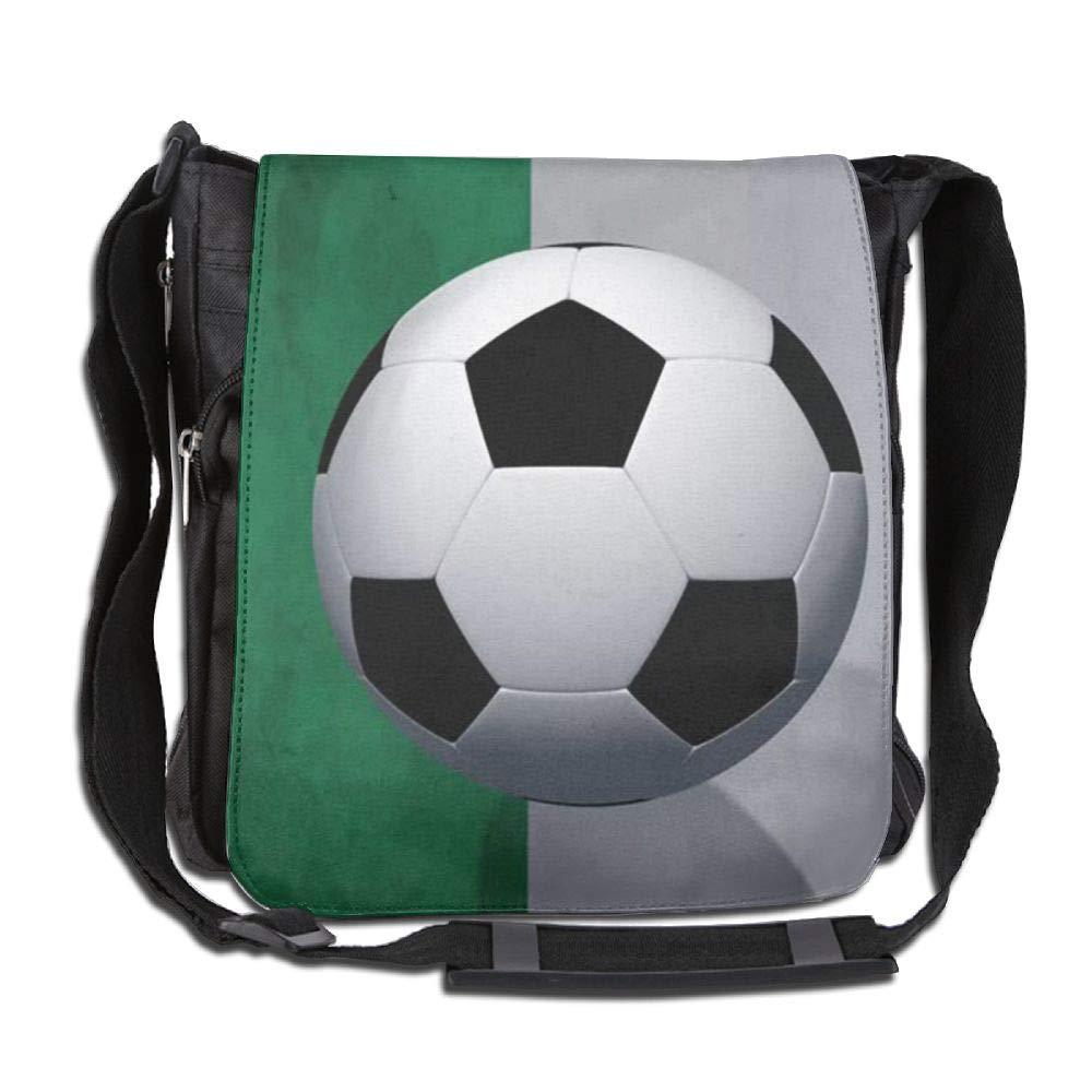 SARA NELL Messenger Bag,Nigeria Flag Football,Unisex Shoulder Backpack Cross-body Sling Bag