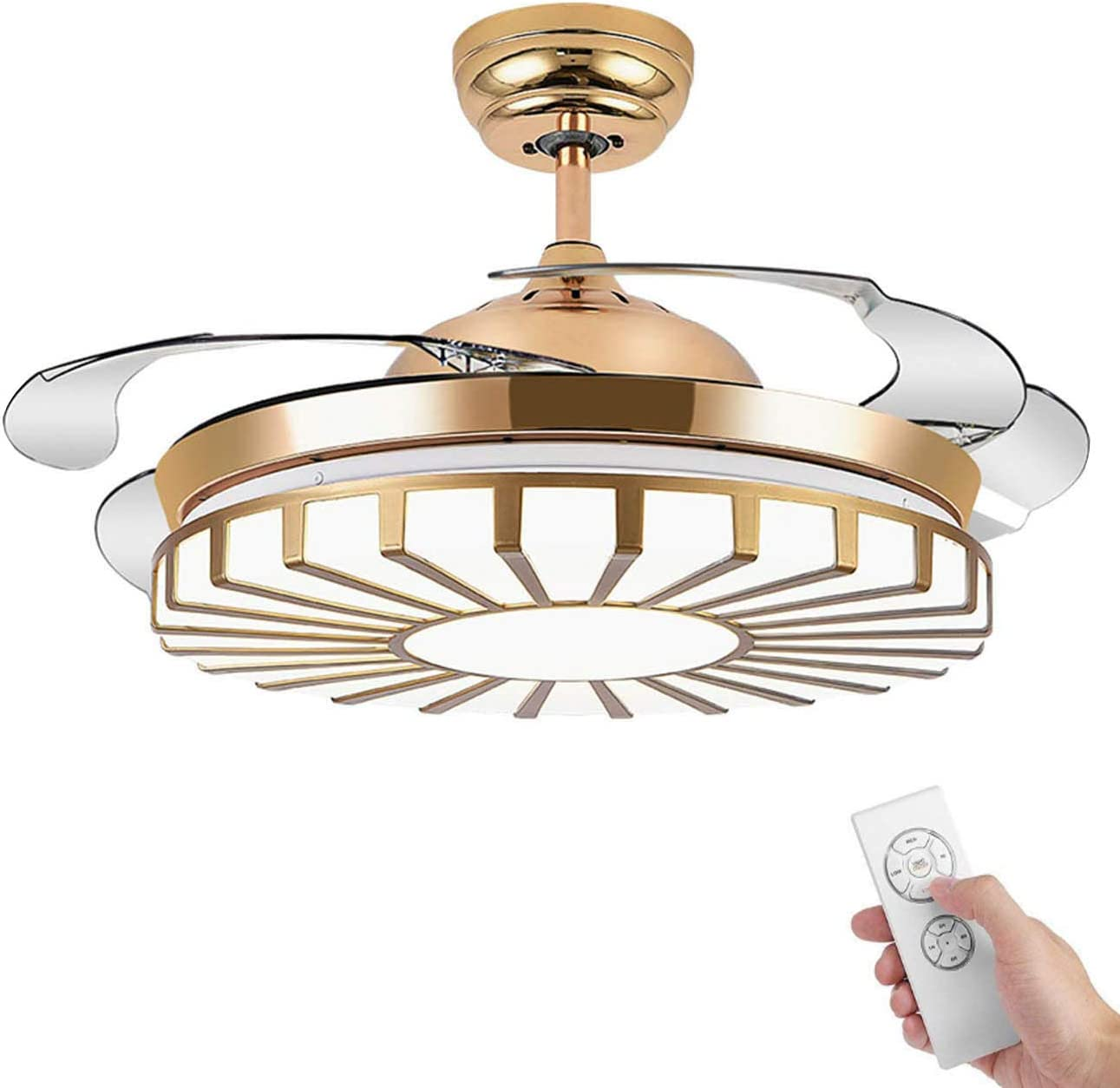 Booms Modern Invisible Ceiling Fan Light with Remote Control Ultra-quiet LED Outdoor Ceiling Fan 42 Inch Fan Chandelier Interior Decoration Living Room Bedroom Restaurant Cafe Golden