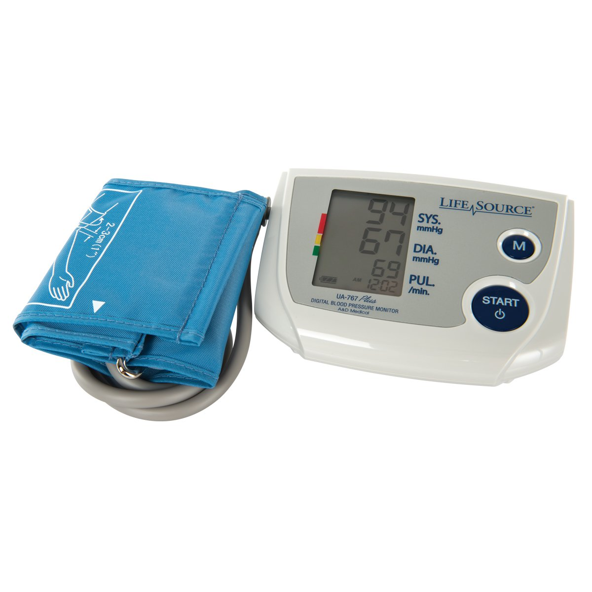"""A & D Engineering Lifesource W64603 One Step Auto Inflate Large Cuff with Memory Bp Monitor, Grade: 1 to 12, Age: 8"""" Height, 4"""" Wide, 5.25"""" Length"""