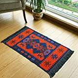 Modern Bohemian Style Small Area Rug, 2 X 3 feet, Washable, Natural Dye Colors, Two-sided (reversable), Perfect for Kitchen, Hallway, Bathroom, Bedroom, Corridor, Living Room (Navy Blue-Orange)
