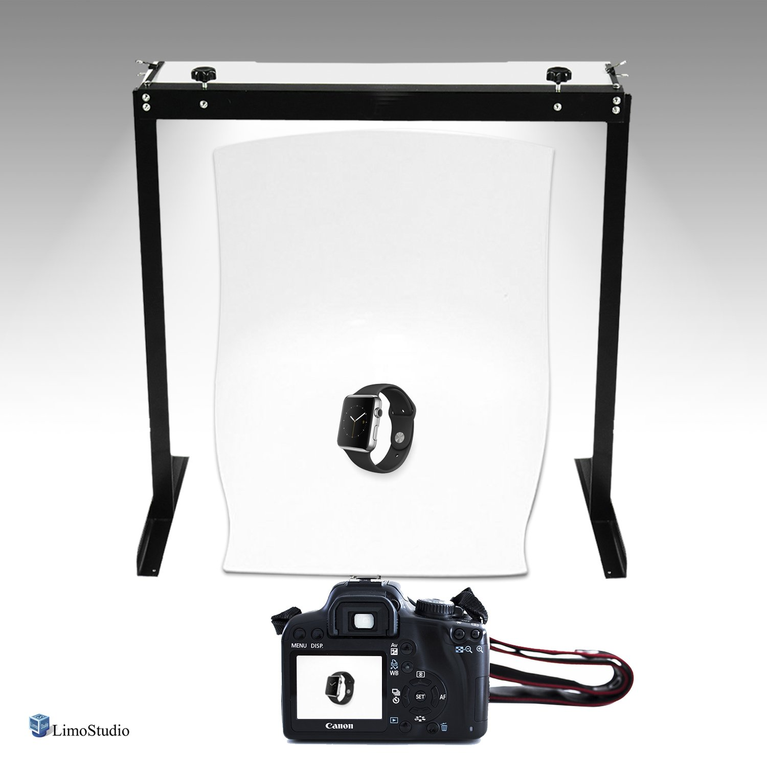 LimoStudio LED Table Top Lighting Kit with Seamless White Table Top Background for Product Photography and Photo Shooting, AGG2596