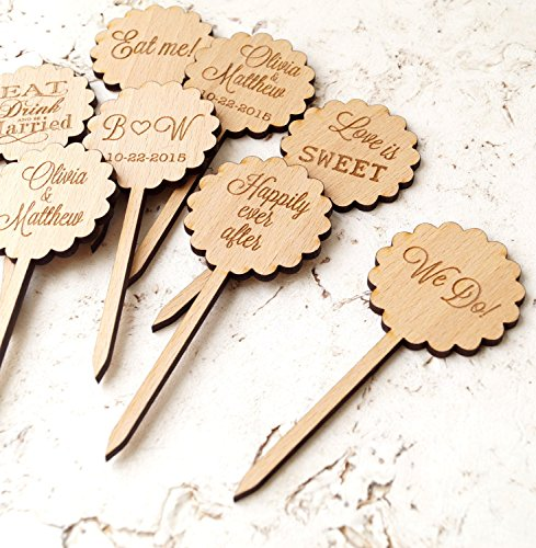 Wedding cupcake toppers, rustic cupcake toppers, wooden cupcake toppers, personalized cupcake picks, custom engraved cupcake toppers, 12 pc