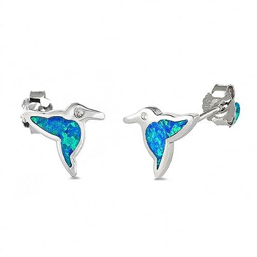 ade76f4b9 Amazon.com: Hummingbird Stud Earrings Created Blue Opal 925 Sterling Silver:  Jewelry