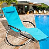Sundale Outdoor Orbital Zero Gravity Folding Rocking Patio Lounge Chair with Pillow,Capacity 250 Pounds,Blue