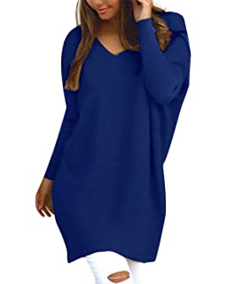 4e247e1a74 Style Dome Women s Sexy Oversized Jumper Shirt Dress Long Sleeve Tops Plus  Size Sweater Pullover Sweatshirt