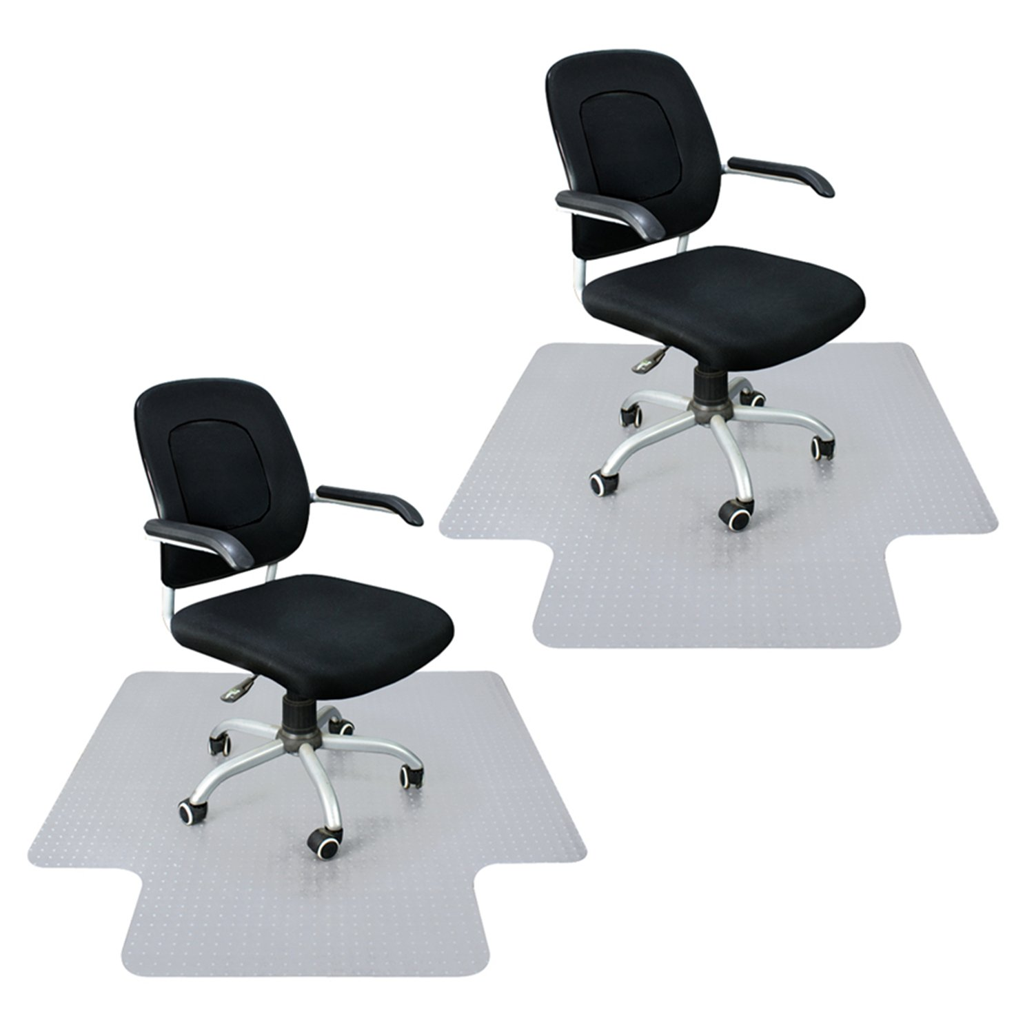 F2C 2 Packs 48-Inch by 36-Inch 1/8''(3MM) Thickness Plastic Floor Office Chair Mat 48'' X 36'' Clear Protector Office Chair Rug Carpet Floor Computer Desk (Pack of 2-48''x 36'')