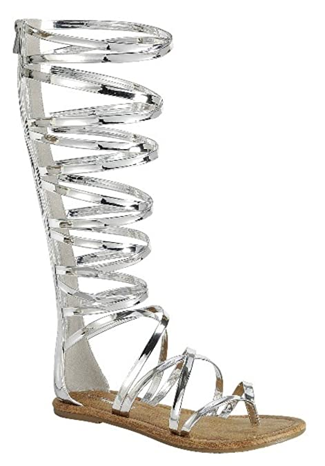 ba68f02bafb DEV Women s Knee High Buckle Strapy Cage Flat Gladiator Marcelona Sandals  Shoes…