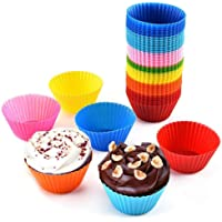 YASSUN Silicone Cake Baking Cup, Reusable Silicone Baking Tray, Colorful Colors, Pack of 12