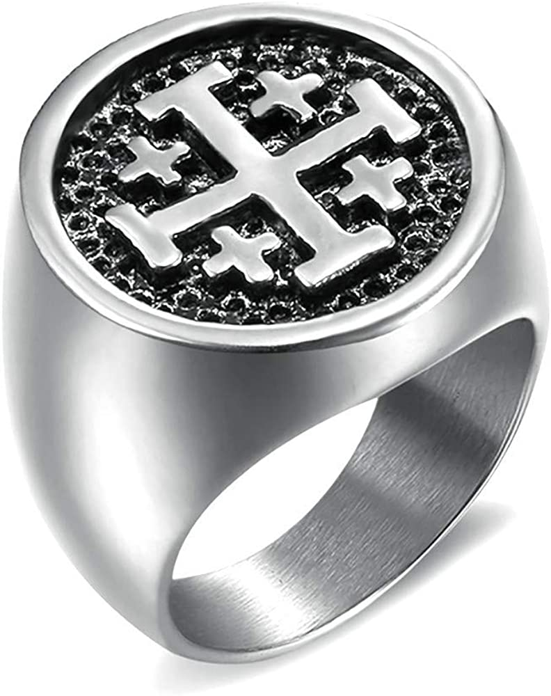 Chevali/ère Bague Homme Templier Croix Potanc/ée Ordre Jerusalem Acier 316L Argent/é BOBIJOO Jewelry