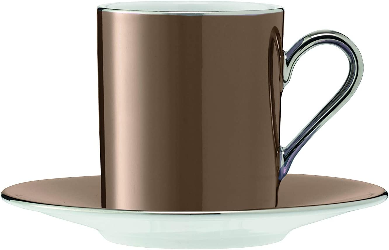 Polka Assorted Coffee Cups & Saucers Set of 4 Metallic