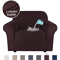 Super Stretch Stylish Furniture Cover/Protector Featuring Suede Fabric, Modern Velvet Plush Slipcover Machine Washable/Skid Resistance (One Seater Chair, Brown)