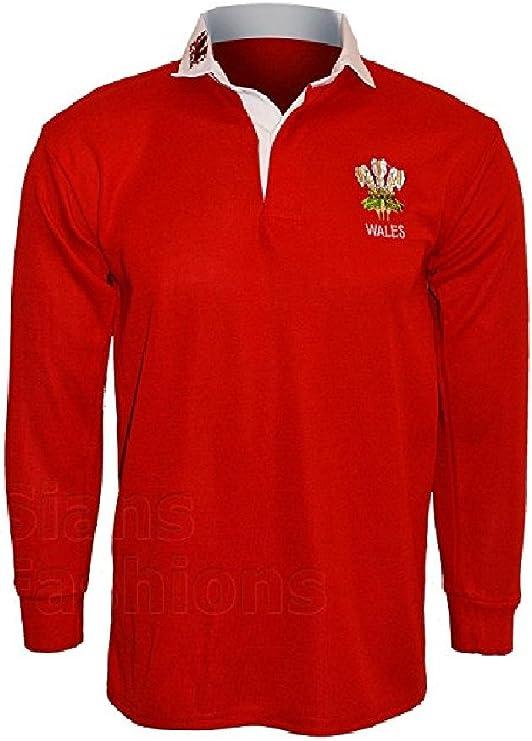 Camiseta polo Active Wear hombre, camiseta tipo rugby, manga larga, con emblema de Gales, tallas: S, M, L, XL, XXL, 3XL, 4XL, 5XL: Amazon.es: Ropa y accesorios