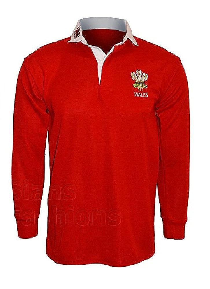 Galles Welsh Retro Cymru Rugby Shirtsby Active Wear Taglia S M L XL XXL 3/x L 4/X L 5/X L Full Sleeve Esclusiva