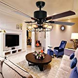 Luxurefan Retro Industrial Ceiling Fan Light for Restaurant/Living Room with Create Iron Cage Cover Pull Chain and 5 Reversible Wood Leaves of 48Inch