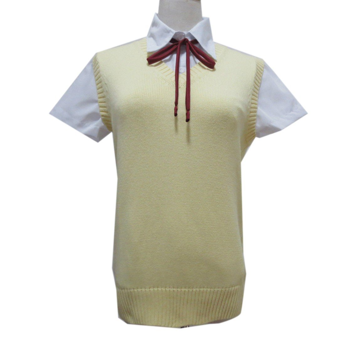 Women Sleeveless V Neck Cotton Knotting Tops School Girls JK Uniforms Vests Chemises QIYUN.Z 3018S0377/CA1