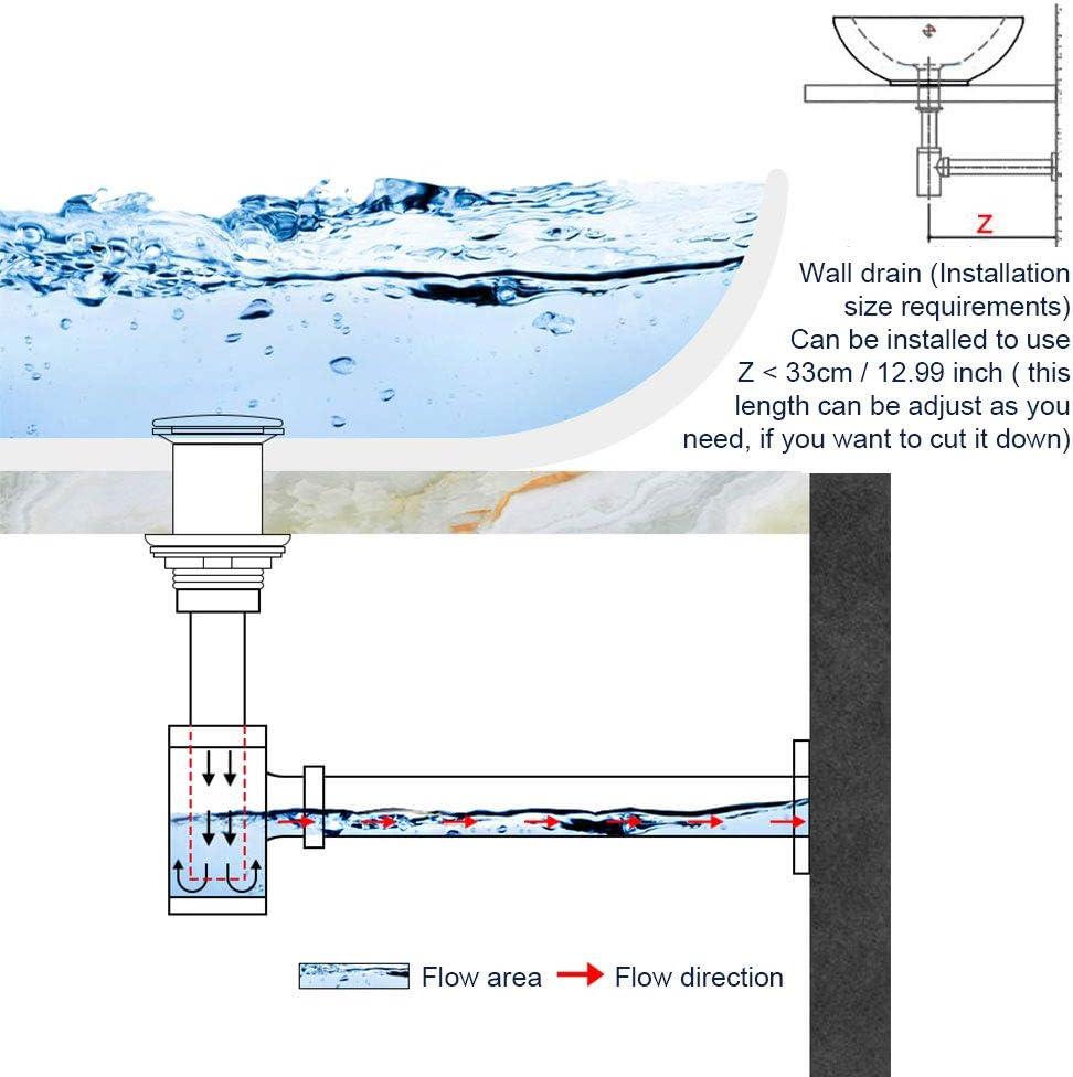 Standard Size: 1 1//4 RMENOOR Wash Basin Bottle Trap Chrome Basin Trap Round Sink Pipe Adjustable Drain Waste Pipe Stylish Odor Trap for Kitchen Bathroom Sinks