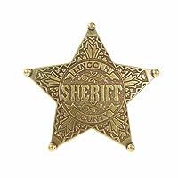 Réplica de placa de Sheriff de 5 puntas fabricada en metal, con aguja para su sujeción de 6.5 cm, fabricada en metal