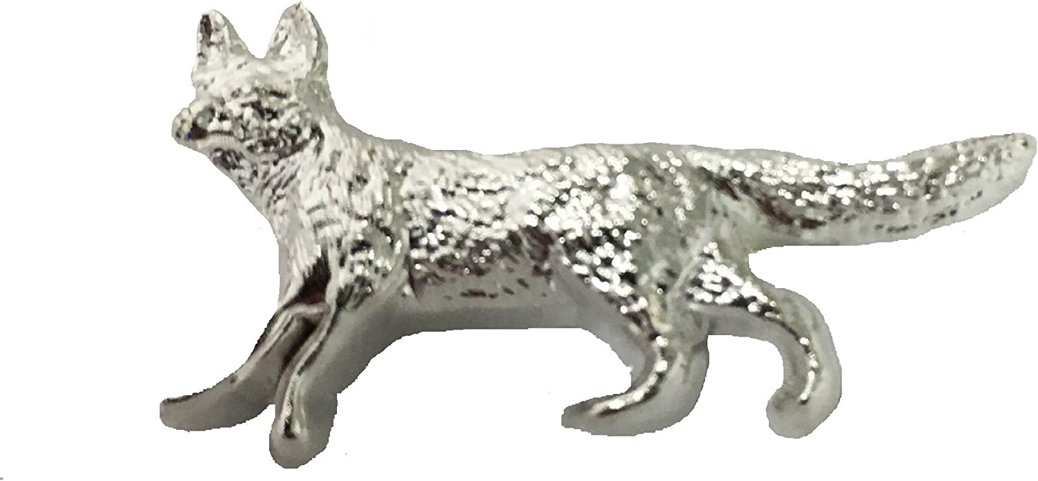 Fox Silver Plated Lapel Pin-- Wood Badge Fox Lapel Pin, gift for Scouts: Clothing
