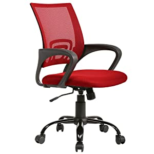 BestOffice Ergonomic Desk Mesh Computer Back Support Modern Executive Adjustable Rolling Swivel Chair for Home Office, Red