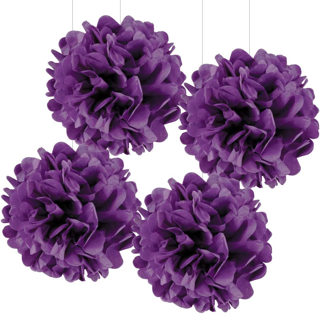 Andaz Press Large Tissue Paper Pom Poms Hanging Decorations, Royal Purple, 14-inch, 4-Pack, Quinceanera Sweet 15 Birthday Decor Colored Birthday Party Supplies