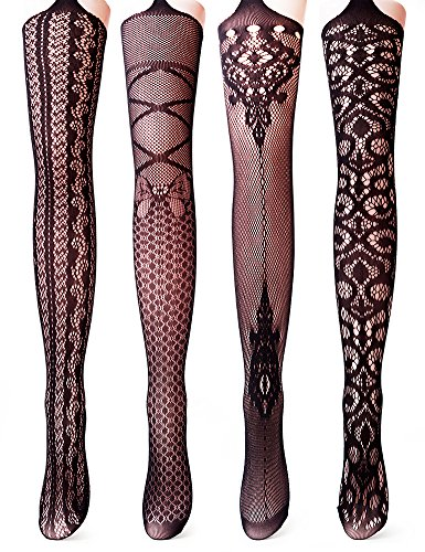 Vero Monte 4 Pairs Women's Fishnet Tights Suspender Thigh High Pantyhose - Boot Inch Sexy Black 5