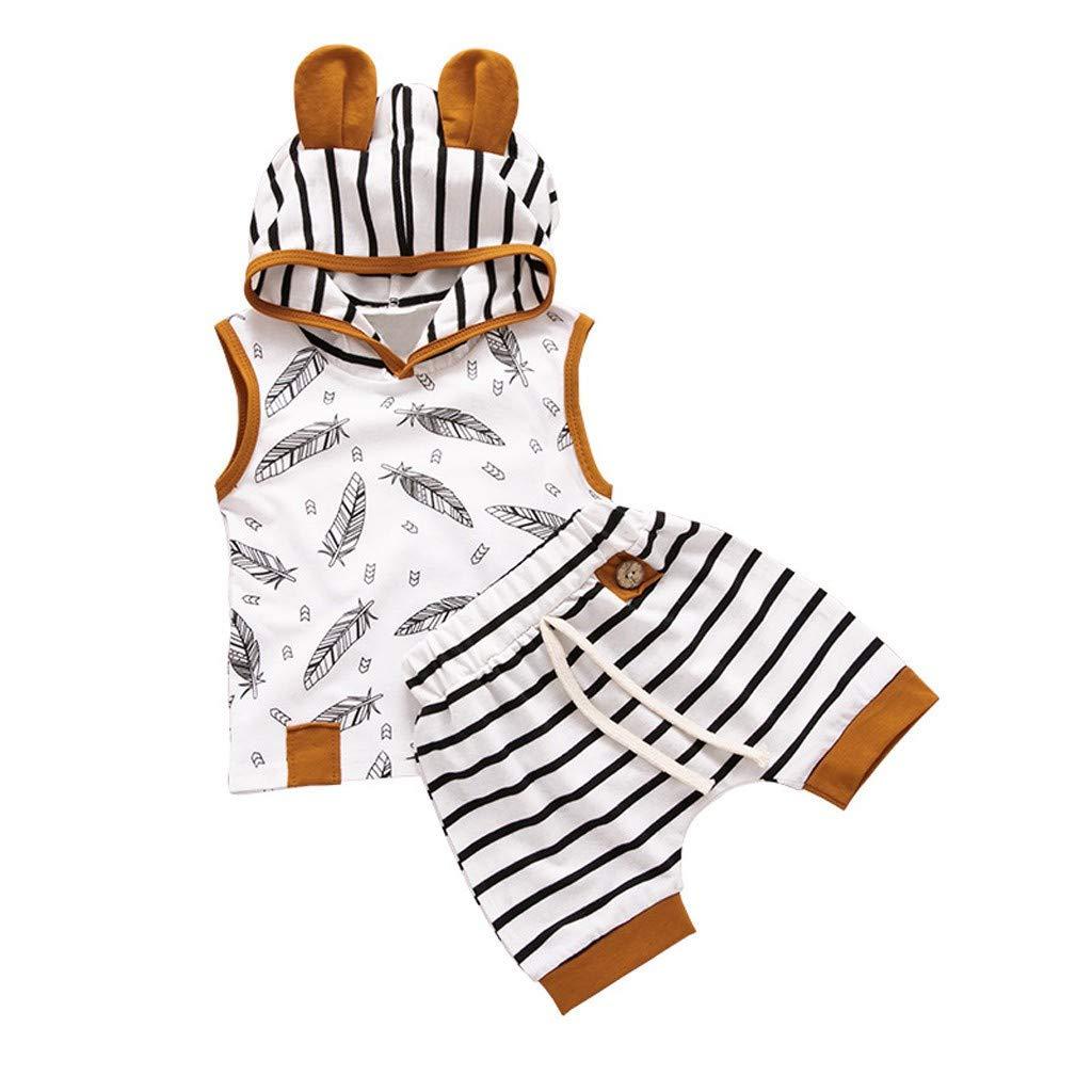 2pcs Baby Kleidung Set Junge /Ärmellos Hoodie Kapuzen-Shirt Bluse Tshit Tanktop Shorts 0-24 Monate Neugeborenes Baby Fr/ühling-Sommer Baumwolle Feder Streifen Druck Outfits Set Zhen