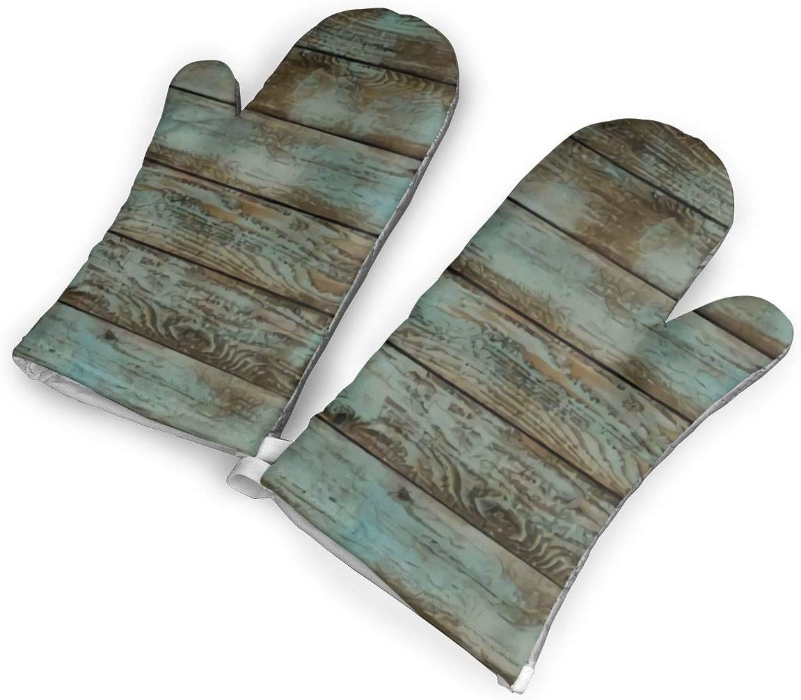 not Rustic Old Barn Wood Rubber Oven Mitts with Polyester Fabric Printed Pattern,1 Pair of Heat Resistant Oven Gloves for Cooking,Baking,Grilling,Barbecue Potholders