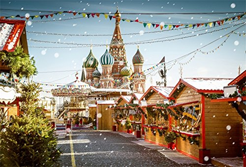 OFILA Christmas Backdrop Castle 5x3ft Photography Backdrop Christmas Shopping Mall Square Winter Snow Flags Festival Celebration Children Baby Kids Photos Shooting Video Studio - Mall Map Of Square Fashion