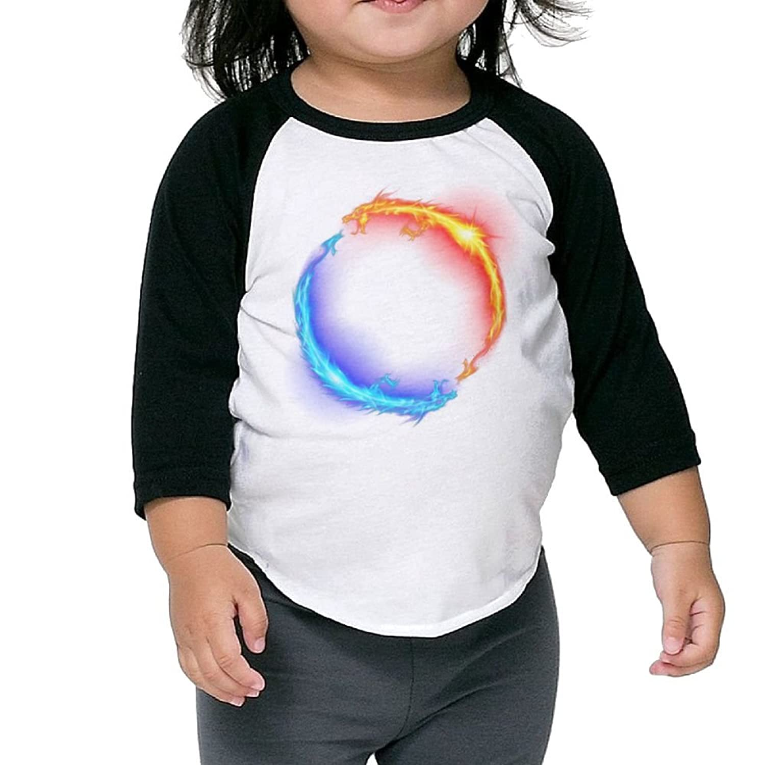 Hot CHENLY Unisex Kid's Sleeves Warm Ice and Fire Dragons Cotton 3/4 Sleeves T-Shirt For Child for sale