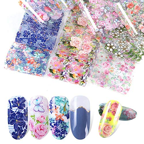 Lookathot 10Sheets Retro Small Floral Flower Rose Pattern Sky Stars Nail Art Stickers Symphony Foil Paper Printing Transfer Acrylic Decals DIY Decoration Tools ()
