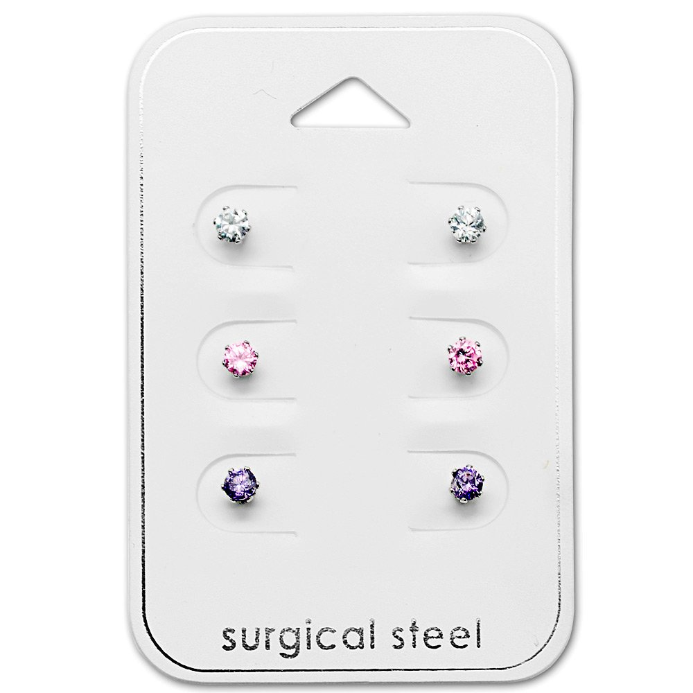 Stainless Steel (SET OF 3) 3mm Round Crystal, Pink & Purple CZ Stud Earrings 29035 by ICYROSE