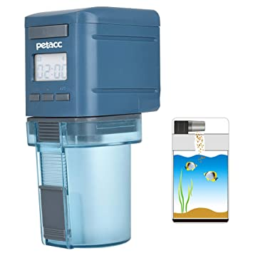 Petacc Alimentador Automático Programable de Peces Dispensador de Pescado y Comida Temporizador con Pantalla LCD y