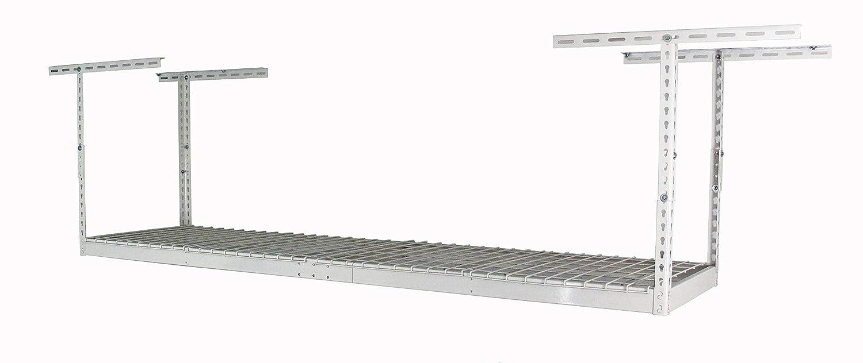 "MonsterRax - 2x8 Overhead Garage Storage Rack - Height Adjustable Steel Overhead Storage Rack - 400 Pound Weight Capacity (White, 24""-45"")"