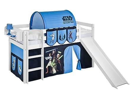 Etagenbett Hochbett Spielbett Kinderbett Jelle 90x200cm Vorhang : Lilokids spielbett jelle star the clone wars hochbett mit rutsche