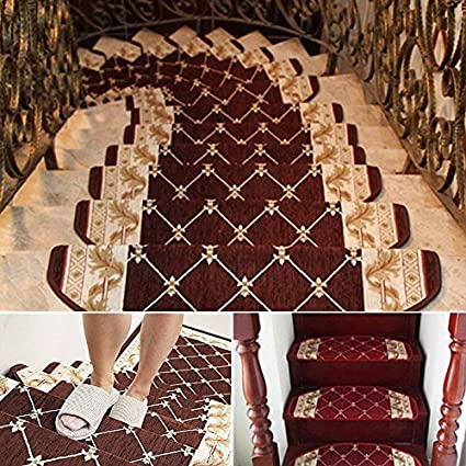 European Style Pastoral Carpet Stair Tread Anti Skid Step Rugs Stair Mats (  #02