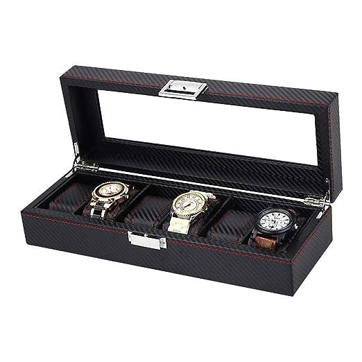 6 Compartimentos Caja De Relojes, Piel Sintética Y Tapa De ...
