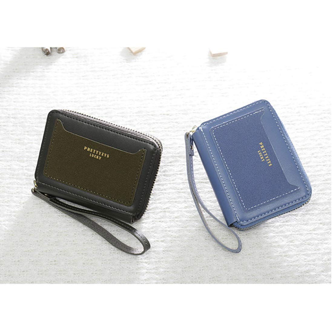 Color : F WENNEW Wallet Mini Purse Zipper Type Opening//closedown Modest Card Inserting Coin Purse Equipped PU Leather