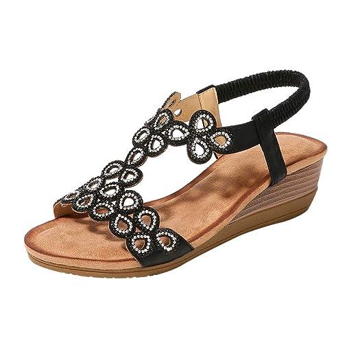 f45a1fc20e Desirepath Wedge Shoes for Women Open Toe 2019 Summer Elastic Strap Comfort  Sandals Low Heels