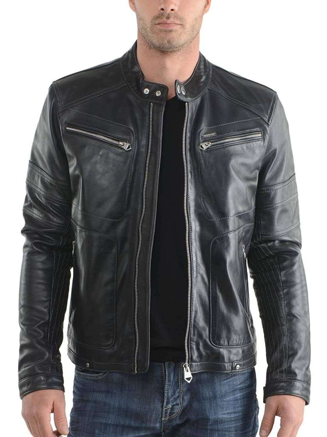 ABDys Men's Lambskin Leather jacket DKC307 Black