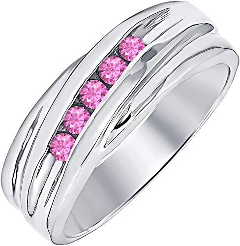 RUDRAFASHION 14k White Gold Plated Round Cut Pink Sapphire 925 Sterling Silver Mens Anniversary Band Ring