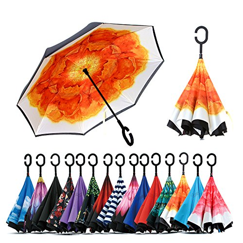 Spar. Saa Double Layer Inverted Umbrella with C-Shaped Handle, Anti-UV Waterproof Windproof Straight Umbrella for Car Rain Outdoor Use (Begonia)