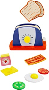 Leo & Friends Wooden Pop Up Toaster Set - 7 Piece Accessory Play Kitchen Wooden Toaster Toy for Children Ages 3-6, Interactive Early Learning | Made with Wood, Chemical-Free