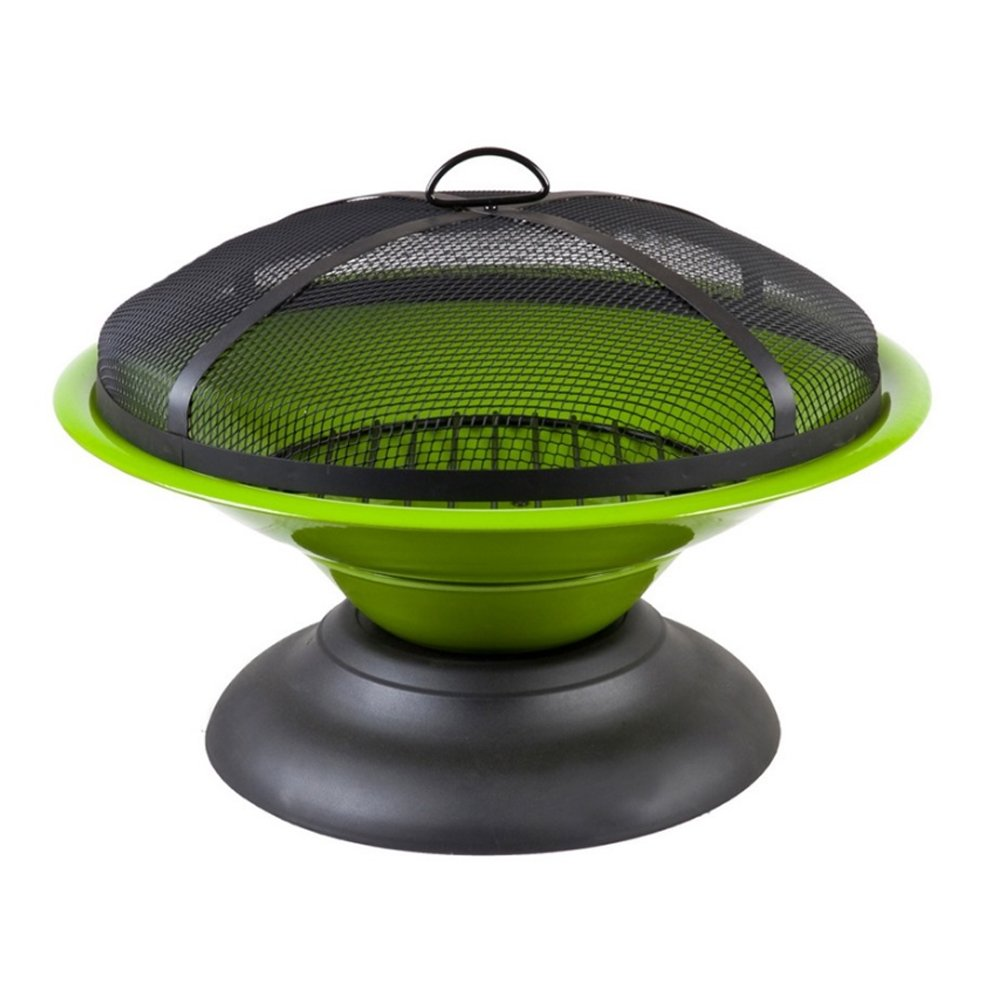 Lado Deluxe Quality Large Moda Enamelled Lime Green Firepit Round (SI-BBQ2) - 61cm x 47cm Picnic Parties Fun by Lado