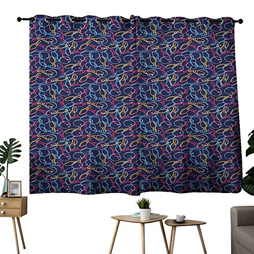 Bowling Grommet Sliding Darkening Curtains Balls Pins and Shoes in Vibrant Colored Outline Style Fun Hobby Activity Theme Curtain Backdrop Multicolor W63 x L45 ()