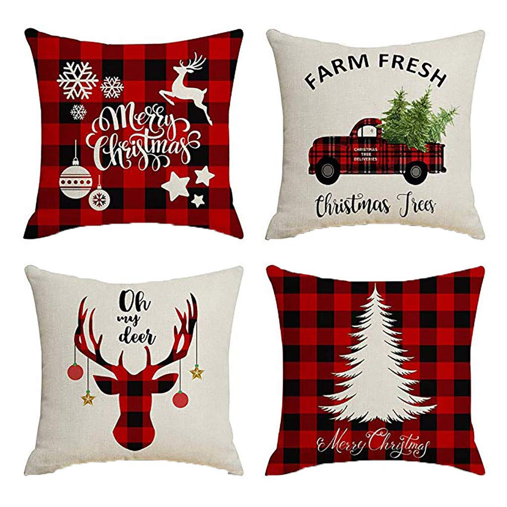 Clearance! Christmas Pillowcases, Christmas Deer Linen Cushion Cover Pillow Case Sofa Bed Home Decoration Festival Pillow Case Cushion Cover (4Pcs E)